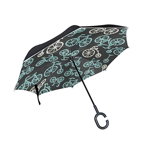 Gaz X Bicycle Inverted Umbrella Double Layer Windproof UV Protection Large Upside Down Straight Umbrella for Car Rain with C-Shaped Handle by Gaz X