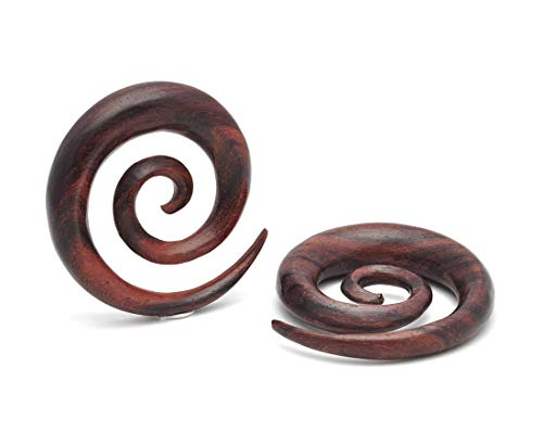 Mystic Metals Body Jewelry Sono Wood Super Spirals (PW-325) Plugs gauges - Sold As a Pair (1/2