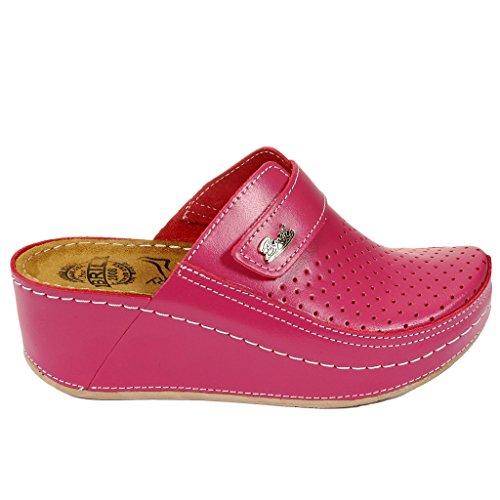 Dr Punto D130 en Mules Rosso Dames Rose Chaussures Chaussons Femme BRIL Cuir Sabots wdrZqnwt