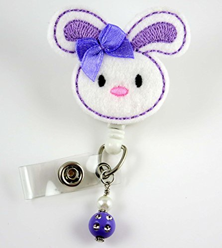 Easter Bunny Purple - Nurse Badge Reel - Retractable ID Badge Holder - Nurse Badge - Badge Clip - Badge Reels - Pediatric - RN - Name Badge Holder