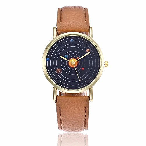 MINILUJIA The Nine Planets of The Solar System Science Student Wrist Watch Eye-Catching Perdonalized Cool Unique Watch for Teens Boys Grils (Beige)