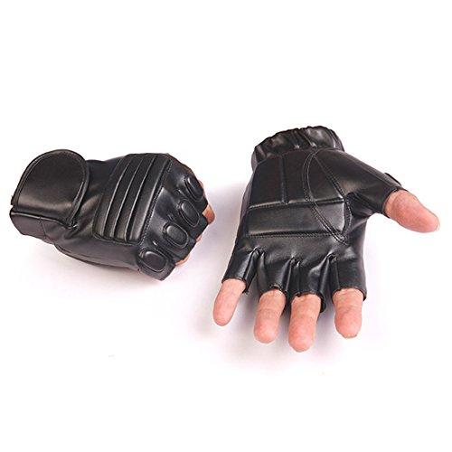 Mens Black Leather Fingerless Gloves - 7