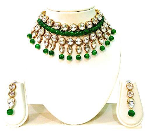 JN Handicraft Green Beads Chokar Necklace for Women