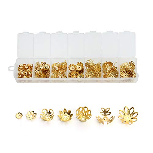 Forise 430pcs Hollow Flower End Caps Alloy Beads Spacers Fit Making Charm Bracelet Necklace 6/7/10/11/11.5/13/14mm (Gold) ()