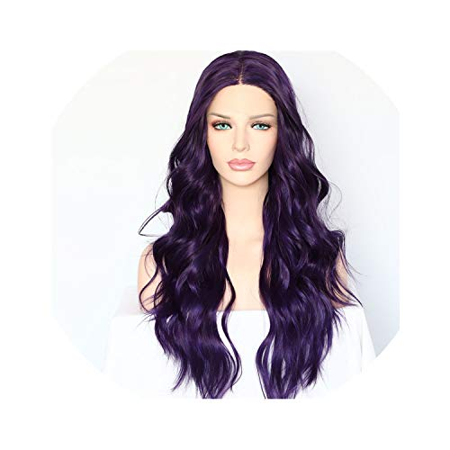 Silk Purple Color Natural Wave Daily Makeup Women Queen Present Wedding Halloween Party Synthetic Lace Front Wigs,22inches,D-Purple]()