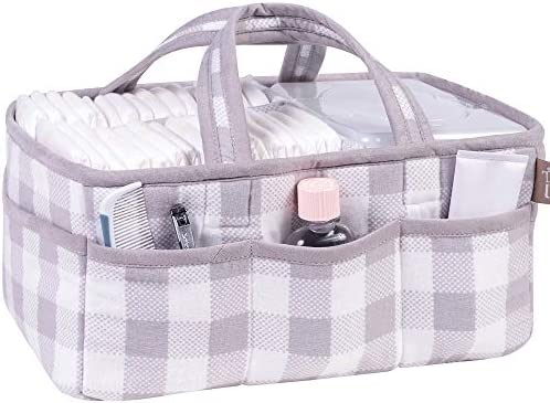 Trend Lab Gray and White Buffalo Check Storage Caddy Nursery Diaper Organizer