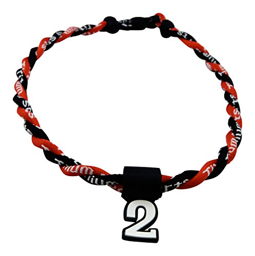 Sports Number Necklace (Pick Your Number - Twisted Titanium Sports Tornado Necklace (Black)
