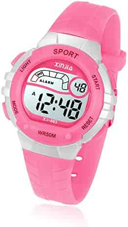 Kids Digital Watch, Girls Boys 50M(5ATM) Waterproof Multi-Functional WristWatches for Children(Pink)