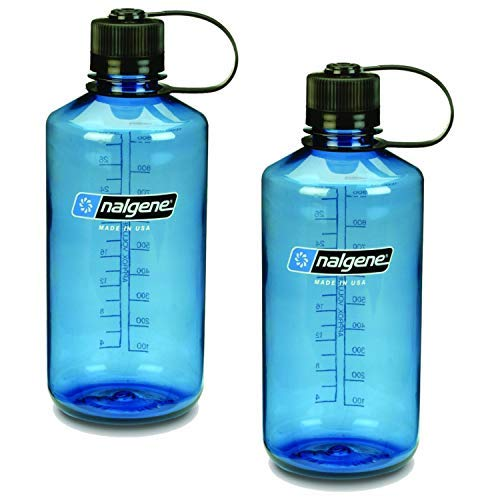 Nalgene Narrow Mouth 1 qt Everyday Water Bottle - 2 Pack (Slate Blue with Black Lid)