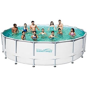 Summer Waves Elite Metal Frame Swimming Pool Package, 18-ft Round x 52-in Deep