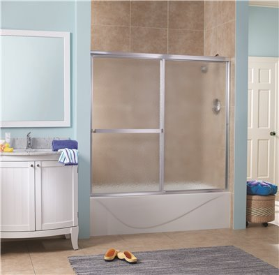 Tub Door Obscure Glass - Foremost Lakeside Sliding Tub Door, 5/32 in. Obscure Glass, 56-60 in. W. X 55 in. H, Silver