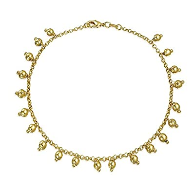 hot Bling Jewelry Gold Filled Anklet 5mm Dangling Beads Ankle Bracelet 10in