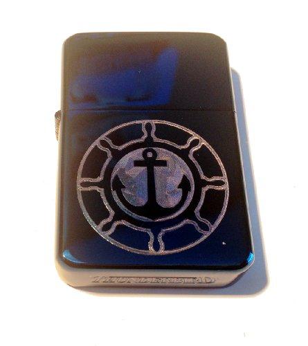 Lighter Cigarette Vector (Vector KGM Thunderbird Custom Lighter - Nautical Sailing Boat Ship Yacht Steering Wheel and Anchor Logo Blue Sparkle ICE Hi Polish Chrome Finish Rare!)