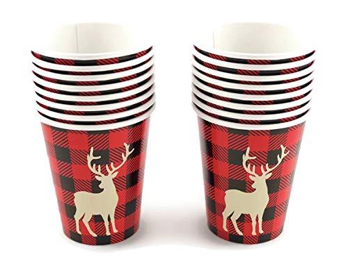 Buffalo Plaid Deer Cups - 16ct Lumberjack Birthday Party Supplies Baby Shower