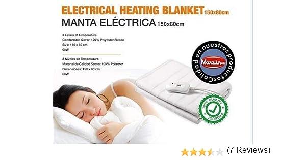 MANTA ELECTRICA INDIVIDUAL 150X80cm 2 NIVELES TEMPERATURA 60W CALIENTA CAMA: Amazon.es: Salud y cuidado personal