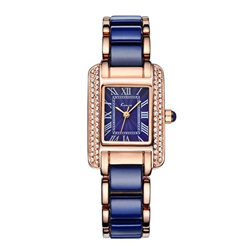 Tidoo Rose Gold Plated Blue Watch for Women | Japaneses Movement Roman Numerals Wristwatch, 6036S (Watch Round Blue Face)