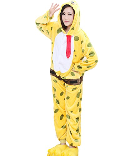 Spongebob Costumes Adult (Must Rose Unisex Adult Homewear spongebob Pajamas Cosplay Costume Sleepwear (Large))