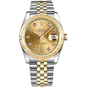 Best Epic Trends 41FKMORbnaL._SS300_ Rolex Datejust Champagne Dial with Diamond Hour Markers 36mm Watch (Ref. 116233)