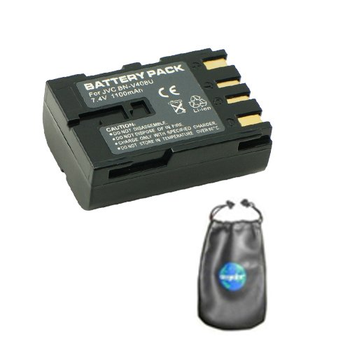 Digital Replacement Camera and Camcorder Battery for JVC BN: V408, V408-H, V408U - Includes Lens Pouch by Amsahr