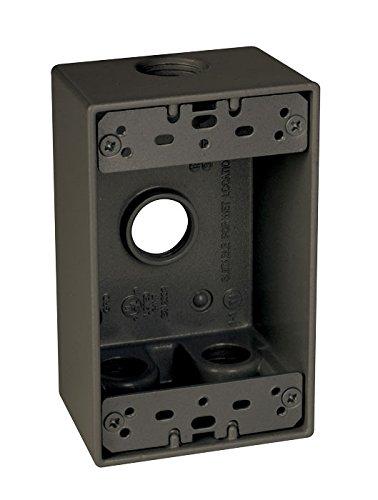 Taymac SB450Z Weatherproof Box, 1-Gang, (4) 1/2-Inch Outlets, Bronze