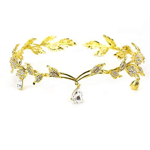 HUELE Gold Crystal Leaf Wedding Headpiece Headband Bridal Rhinestone Bridal Tiara Crown