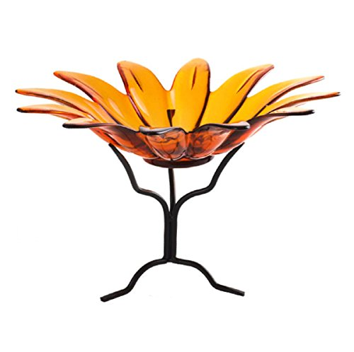 (Colored Glass Serving Bowls, Pasta Bowl G196VM Orange Large 12 in. Daisy Candy and Nut Dish )