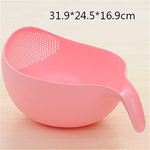 Creative Kitchen Rice Bowl Plastic Fruit Bowl Thick Drain Basket with Handle Washing Basket Large Size Green tofree