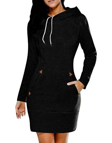 Hoodie Top Jeans (BBYES Women's Hoodie Sweatshirt Dress Long Sleeve Slim Fit Midi Dress Hooded Tops With Pockets(Black,Large))