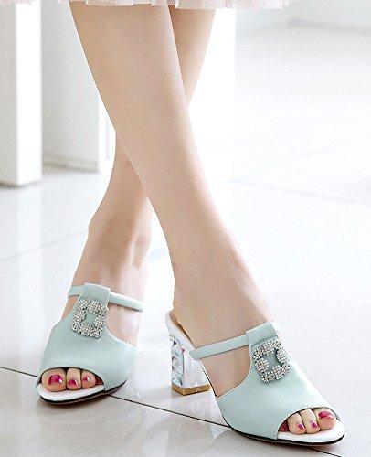 Femme Ornement Mode Aisun Chunky Soirée Strass Bleu Toe Mules Sandales Peep SPddqw