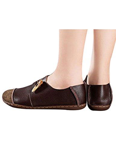 Youlee Mujeres Vendimia Zapatos de plataforma Zapatos planos de cuero Café