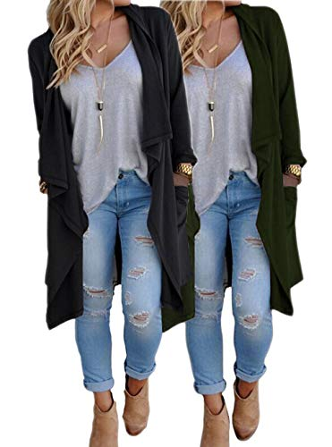 - ZITY Cardigans for Women/Solid Lightweight Open Front Waterfall Draped Trench Coat Cardigan (ArmyGreen&Black) Small