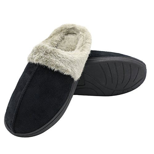 Q Plus Men And Women Slippers Memory Foam Fluffy Slip On House Slipper Warm Clog Soft Indoor Slipper