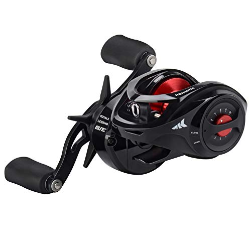 KastKing Royale Legend Baitcasting Reels - Elite Series, Palm Perfect Compact Design, Ergo-Twist Opening, Swing Wing Side Cover, 4 Coded Gear Ratios, 11+1 BB, Magnetic Braking System Fishing Reel