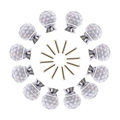 (ANJUU 12 Pcs 30mm Round Shape Crystal Glass Cabinet Knobs with Screws Drawer Knob Pull Handle Used for Kitchen, Dresser, Door, Cupboard (Clear))