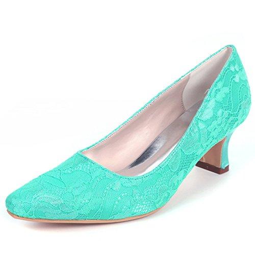 5 Tobillo Blue Dama La L Moda 5cm De Boda Cerrados Tacones Las Gruesos Mujeres Encaje yc Zapatos SanAY