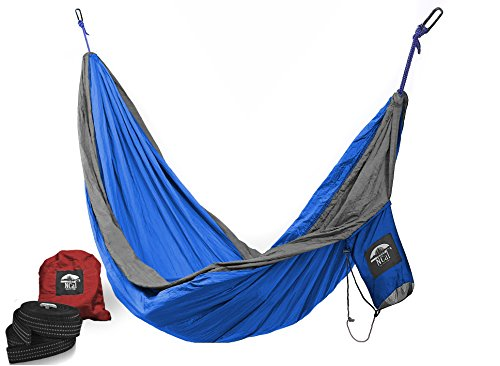 Camping Hammock with Upgraded Straps & Carabiners (2 Each) | 100% Parachute Nylon | Patent-Pending Design for Easier Take-Down & Pack-Up by NCal Outfitters (Blue/Silver, (Patent Pending Design)