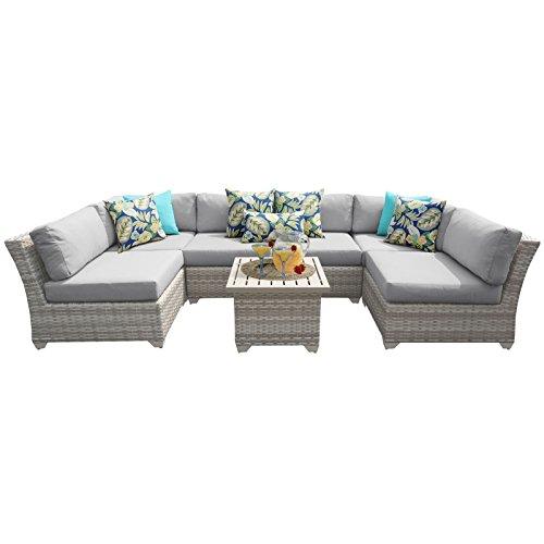 TK Classics FAIRMONT-07c-GREY 7 Piece Outdoor Wicker Patio Furniture Set, Grey
