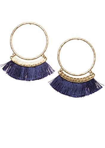 Tassel Hoop Earrings in Navy and Gold Color   Statement Earrings with Tassels in Deep Blue nickel (Greek Goddess Jewelry)