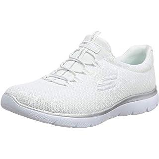 Skechers Women's Summits Sneaker, White (White/Silver), 9.5 W US