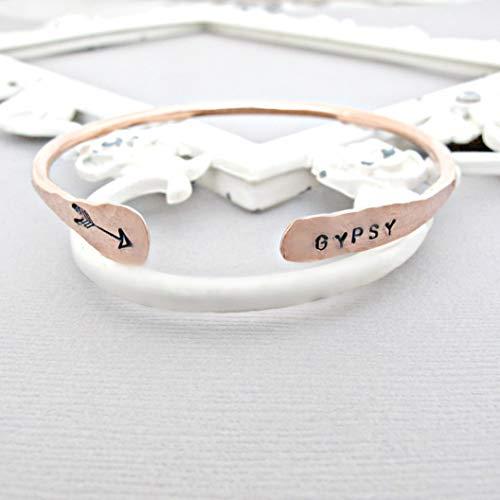 Handstamped Personalized Bohemian bangle cuff bracelet, Gypsy Boho Jewelry - Gypsy Mama Wrap