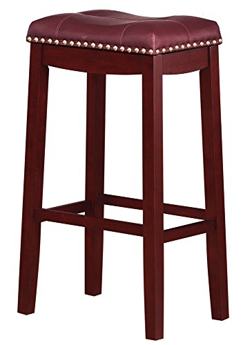 Angel Line Cambridge Padded Saddle Stool, Cherry with Dark Red Cushion, 29″ H Review