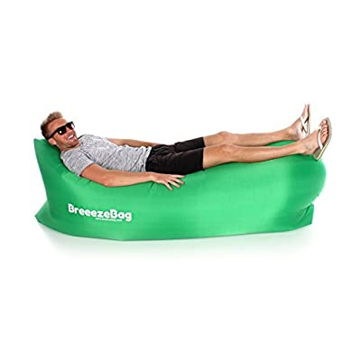 Breeeze - Premium Inflatable Air Filled Lounger With Shoulder Bag. Nylon Fabric Suitable For Beach, Camping, Hiking and Hanging Out. (Green)