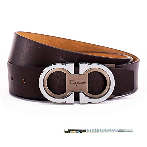 Men's Genuine Leather Belt Adjustable Buckle, by Trim to Fit (FA silver-brown, Adjustable from 26