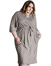 Women s Kimono Robes Cotton Lightweight Robe Long Knit Bathrobe Soft  Sleepwear V-Neck Ladies Nightwear ffdfd1473