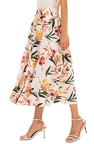 - Chartou Women's Vintage Color-Block Floral Print Elastic-Waist Pleated A-Line Skater Skirts (Medium, White)
