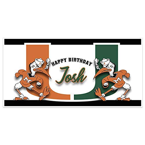 Miami Hurricanes College Football Birthday Banner Party Decoration Backdrop
