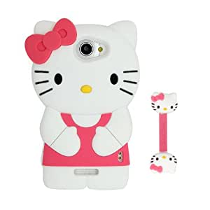 Euclid+ - Rose Red Hello Kitty Style Silicone Soft Case Cover for HTC One X S728e with Hello Kitty Style Cable Tie