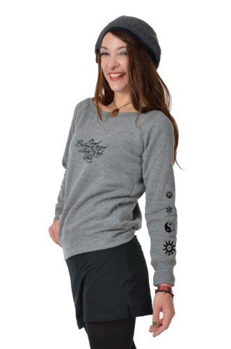sweater felpa Bianco Scollatura Fata Donna Barca Lirica Cosma Con Grigio Nero Stampa Blu Maglione Nero 3elfen Grigio Rosso XFqvPxffw