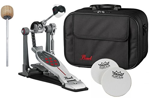 Impact Drum Cases (Pearl P2050C Eliminator Red Line Single Bass Drum Pedal Chain Drive w/ Case, Impact Patches and Extra Wood Beater)