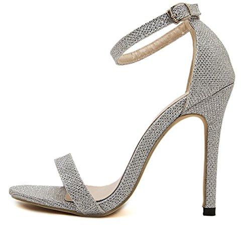 Bumud Womens Ankle Strap Open Toe Stiletto High Heel Dress Sandal Silver JHOhIKKVp